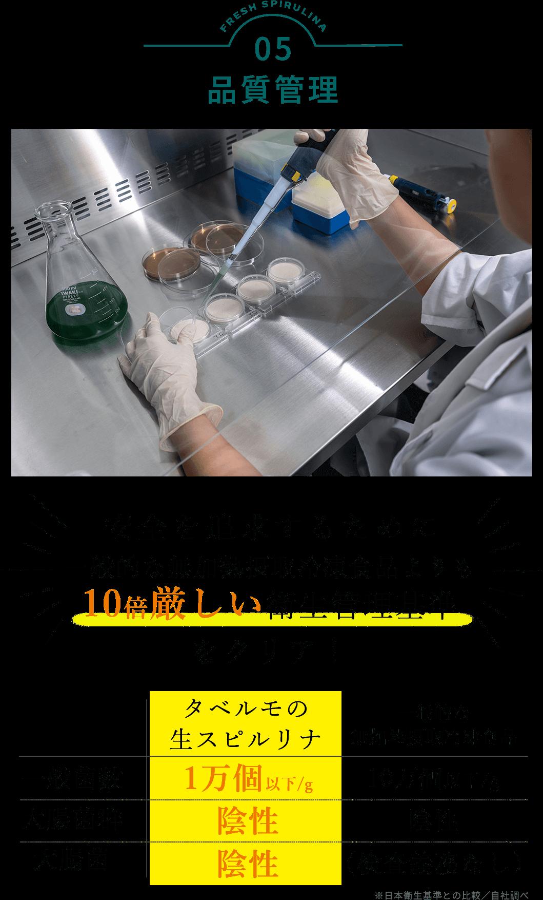 タベルモの生産 品質管理